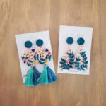 Clay-earrings rose turquoise